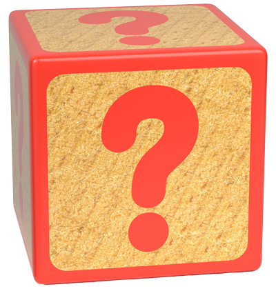 Child's block with question mark