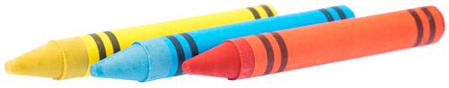 3 colour crayons